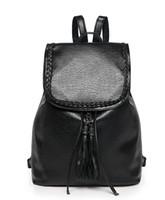 mochilas modernas mujeres al por mayor-2017 Nueva Llegada de La Moda de Las Mujeres Bolsos de Hombro Sólido Casual Negro PU Bolsas de Cadena de Cuero Para Chicas Jóvenes Mochila moderna