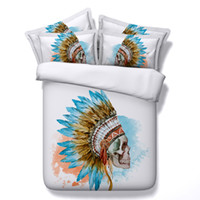 Wholesale Indian Beds - Indian Skull 3D Bedding Sets 4pcs Comforter Sets Tiwn Full Queen King Size Duvet Cover Bed Sheet Pillowcases cenery