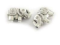 Wholesale Handmade Bracelets Connectors - 100pcs lot Hot sale Diy handmade beads Ancient silver elephant beads 8*13mm fit for bracelet DIy jewelry drop shipping
