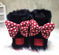 Wholesale Babies Heels - 2017 CLASSIC DESIGN SHORT BABY BOY GIRL WOMEN KIDS BOW-TIE SNOW BOOTS FUR INTEGRATED KEEP WARM BOOTS EUR SZIE 25-41