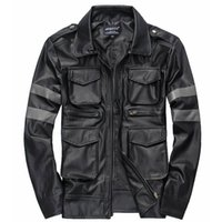 Wholesale Goat Fur Leather - Wholesale- AIANXIN Men's Genuine Leather Jacket For Men Real Matte Goat Skin Sheepskin Fashion Brand Black Male Coat Plus Size 3XL