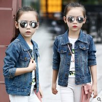 Wholesale Girls Coats 14 Years - Spring and Autumn 2016 New Children's Cowboy leisure Coat Girls Fashion Jacket Solid Color for Children 3-14 Years Old ly118