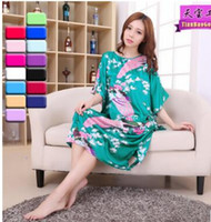 Wholesale Green Silk Nightgown - Supply of women's silk dress skirt thin section of the nightgown summer printing peacock skirt loose large size home clothing suit