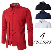 Wholesale Korean Wearing Dresses - Men's Long Sleeve Solid Fake Two Piece Shirt Male Korean Style Long Sleeve Casual Office Wear Men's Dress Shirts in Men's