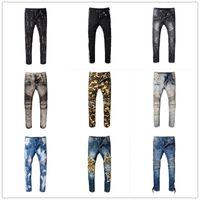 Wholesale Men Paint Jeans - Hot Sale ! 2018 latest style Men's Distressed Ripped Biker Jeans Famous Brand Fashion Denim Jeans Slim Fit Motorcycle Biker Denim For Jeans