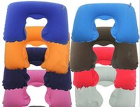 Wholesale Air Cushion Mask - 20set 3 in1 Travel Office Set Inflatable U Shaped Neck Pillow Air Cushion + Sleeping Eye Mask Eyeshade + Earplugs G009