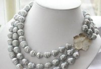 Wholesale Pearl Bracelet Triple - New triple strands 11-13mm natural south sea gray baroque pearl necklace