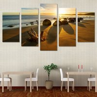 5 pezzi / Set Framed HD stampato Sea Beach Tramonto Pietre Wall Art Canvas Print Poster Canvas Pictures Pittura ad olio astratta