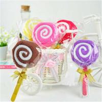Wholesale Baby Shower Lollipops - Wedding Decoration Mini Washcloth Towel Lollipop Shape Towel Bridal Baby Shower Party Favor Gifts Wholesale