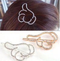 Cute Hollow Rhinestone Crystal Thumbs Finger Hairpins Hair Clip Girl Accessoires pour cheveux Barrette Women Headwear Wholesale