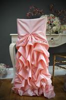 ingrosso copricapo taffetà-Coprisedili rivestite in taffettà rosa su ordinazione elegante 2017 Copre le sedie romantiche della sedia dell'annata Belle decorazioni di nozze di modo
