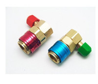 Wholesale air condition auto - Free shipping One Pair Air Condition Refrigerant Quick Couplers Connectors Adapters Conversion Auto Car High & Low Connector AC R134A 8Z012