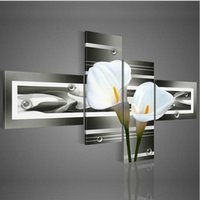 Wholesale Lily Canvas Paintings - Moder hand-painted wall art white lily home decoration Flowers oil painting on canvas 4pcs set