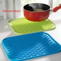 Wholesale Kitchen Hot Pads - High temperature resistance Anti - slip Silicone Pads Kitchen anti-hot Insulation mat Pad Tableware anti-skid water 22*16cm.
