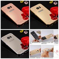galaxy s5 metal tampon toptan satış-Lüks Ayna Bling Durumda + Alüminyum Tampon Çerçeve Iphone 7 Artı Iphone 6 S Artı 5 S 4 S Samsung Galaxy S7 S6 S5 Not 5