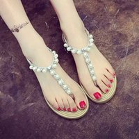 Wholesale Rhinestone Beaded Flat Sandals - 2017 summer new student rhinestone beaded sandals women sweet pearl flat princess Roman Flip Flops shoes