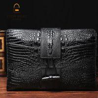 Wholesale Dress Hand Bags - brand new package crocodile lines men hand bag briefcase embossed men leisure restoring ancient ways leading buckles mens hand bag