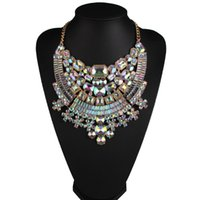 Wholesale Colorful Rhinestone Statement Necklaces - hot sale Fashion jewelry lady luxury colorful glittering full rhinestone diamond crystal designer statement choker necklace