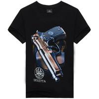 kıyafet tabancası toptan satış-3D gun baskı erkekler giyim t shirt erkekler için yaz şort kollu kafatası spor erkek t shirt yeni gelgit hip hop erkek tişörtleri ücretsiz kargo