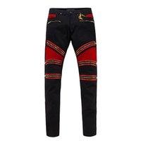 Wholesale Cheap Men Designer Jeans - 2017 Hot Sale Robins Zipper Jeans Black Mens Straight Designer Cheap Robins Jeans Denim Trousers with Wings American Flag Mens Skinny Jeans