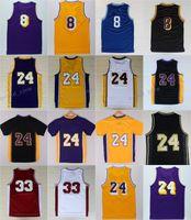 Wholesale Low Shirts - Discount 2017 24 Jersey 8 Throwback High School Lower Merion 33 Retro Shirt Uniform Yellow Purple White Black Blue