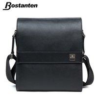 Wholesale Bostanten Briefcase - Wholesale-Bostanten Man Vertical Genuine Leather bag Men Messenger Business Men's Briefcase Designer Handbags High Quality Shoulder Bags