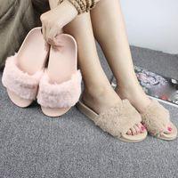 Wholesale Women Home Shoes - Women Slippers Flock Fashion Spring Summer Autumn Home Plush Slippers Women Faux Fur Slides Flip Flops Flat Shoes