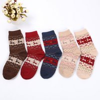 Wholesale Ladies Cashmere Socks - Hot Sale 2017 Female Winter Socks Warm Fashion In Tube Socks Wool Ladies Casual Cute Cartoon Deer Socks For Woman 5pairs lot free shipping