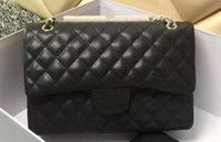 Wholesale Large Double Zipper Handbags - High Quality classic women's Handbag Double Flap Bag Caviar Leather Fashion Shoulder Bags Real Lambskin 1113 Large Quilted Chain Bag