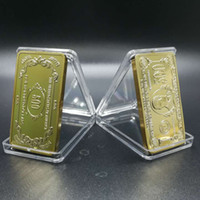 Wholesale Draw Bar Box - 100 pcs The brand new $500 USA dollar bar 1 OZ 24k real gold plated 50 x 28 mm American bullion coin bar.DHL free shipping