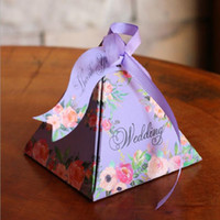 Wholesale Triangle Boxes Wedding - Wedding Decorations Candy Box Favor Holders Floral Candy Box With Ribbon Card Wedding Favors Gifts Baby Shower Wedding Supplies