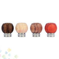 Wholesale new electronics cigarette resale online - New Type Wood Stainless Steel Drip Tip Mouthpieces Spherical Woody for Electronic Cigarette RDA Atomizer DHL Free