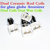 Wholesale Rods For Sale - New Hot Sale Dual Wax coil ceramic Rod Coils rebuildable atomizer core for wax Glass globe vaporizer pen herbal vapor replacement e cigs