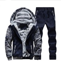 Wholesale Hooded Cardigan Knitting - Man's Hoodies Pants Suit Clothing Man's Winter Plus Velvet Hoodie Men Print Hooded Jacket Coats Long Sleeve and Long Pants Tracksuits