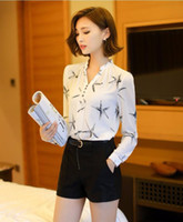 Wholesale Womens Office Shirts - New 2017 Spring New Arrival womens chiffon blouse ladies White elegant sexy v-neck blouses plus size female office shirt TY2129