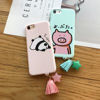 Plastic cartoon scrubs - For Iphone Mobile Phone Cases Cartoon Piggy Panda Gift Fringed Chain Scrub Hard Phone Shell For Iphone s Plus