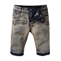 Wholesale Long Shorts Jeans For Men - 2017 New Men's Robin short jeans men tide summer designer robin jeans for male true biker fashion short robin rock revival jeans