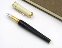 Wholesale Pen Nib F - Promotion Garbo Muses Collection Pen Black White Golden Fountain Pen F Nib Perarl On Clip Gift Pen