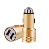 Wholesale Dual Usb Car Charger Pink - 3.1A dual USB car charger Round Aluminum Metal Safety Hammer Charger Adapter For Phone Ipad Digital camera