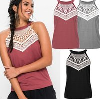 Wholesale Short Sleeve Crochet Top - Ladies Casual Sleeveless Lace Pullover Patchwork Crochet Paneled Tops Womens Shirt Tank Vest