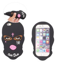 Wholesale Skull Cover Case - For Iphone 7 Plus Skull Grimace Mask Silicone Case Black Cover For Iphone 6 6s Plus Opp Bag