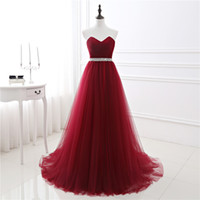 Wholesale strapless evening - 2017 New In Stock A-line Soft Tulle Dark Red Prom Dress Hand Beading Sexy Evening Gowns Bandage Long Party Dress vestido de fest