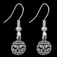 Wholesale Unique Earrings Studs - Retro Boho Alloy Butterfly Carved Women Dangle Hook Earrings Ear Stud Unique Tibetan Silver Carved Bohemian Jewelry Earing Earring Ear Ring