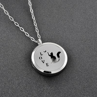 Wholesale free classic solitaire resale online - ijp0125 Play with Cat Aromatherapy Stainless Steel Never Fade Perfume Locket Classic Popular Design Essential Diffuser with Free Pads
