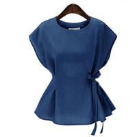 vintage kolsuz dantel bluzlar toptan satış-Artı Boyutu Yaz Üstleri Vintage Kolsuz Kadın Bluzlar 2017 Katı Peplum Üst Zarif Yan Dantel Up Gömlek Kadın Blusas Feminina