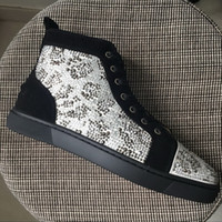 Wholesale Crystal Leopard Shoes - New men womens black suede with leopard big rhinestones high top casual shoes,brand design EU bottom crystal sneakers 35-47 drop shipping