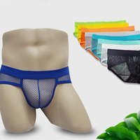 Wholesale Army Men Bulges - Hot Selling Men Underwear Transparent Net Mesh Gay Bikini Briefs Underwear Bulge Underpants Fashion Waist Brief Sexy Lingerie Gift