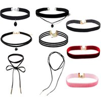 Wholesale Lace Pearl Choker - Lace Velvet Choker Necklaces for Women with Pendant Charm Black White Silver Pink Claret bulk price