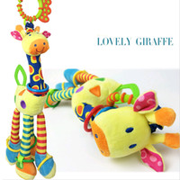 Wholesale Infant Toy Mobile - Wholesale- Infant Toys Baby Giraffe Crib Stroller Playing Toy Car Hanging Baby Rattles Mobile Soft Bed Plush Toy Educational 0-12 months