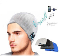 Wholesale Winter Headphone Wholesale - Warm Bluetooth Hat Music Beanie Cap Mini Wireless Speaker Bluetooth Receiver Audio Music Bluetooth Headset Headphone for Iphone Samsung
